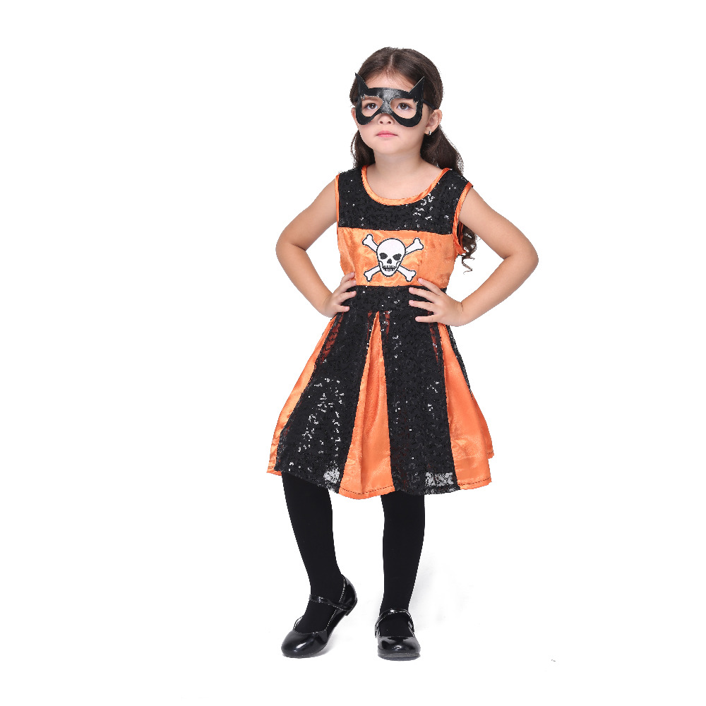 2017 New Sequin Dress With Mask Girls Cosplay Clothing Tank Skull Black Orange Role Play Dresses