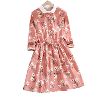 New Japanese Soft Girl Floral Corduroy Dress Autumn Mori Girl Small Fresh College Style Sweet And Lovely Pink High Waist Dress