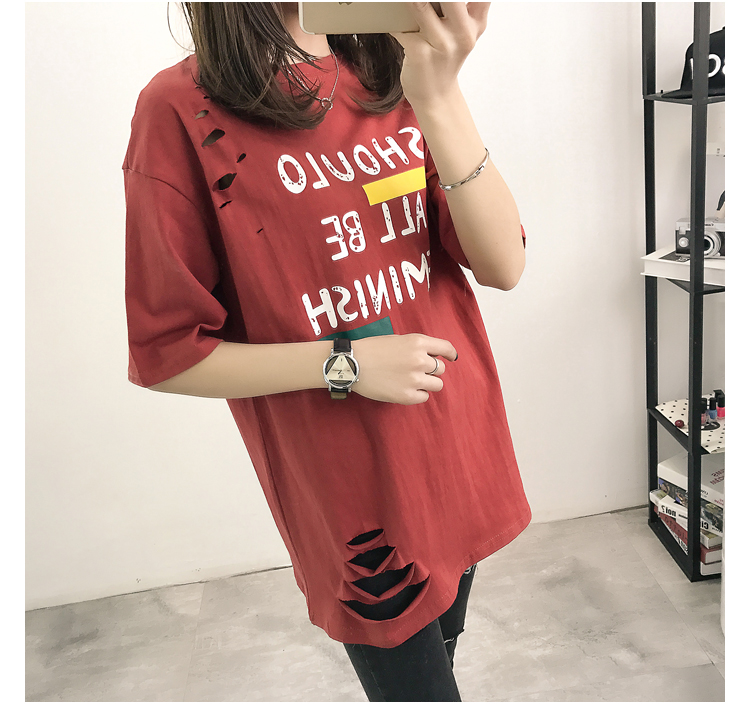 XL- 4XL 2019 new plus size summer loose High Street hole Letter print short sleeve O-Neck women T-shirt top tee TY5 31