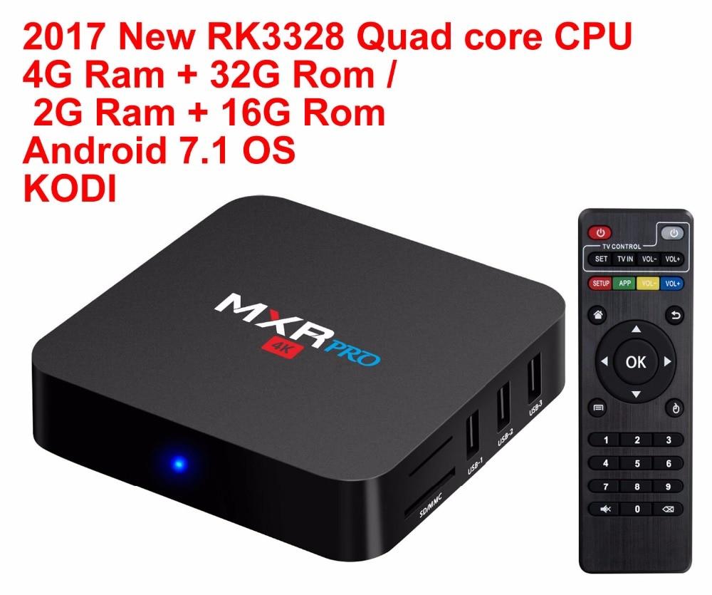 2017 New MXR PRO Android 7.1 Smart TV BOX RK3328 Quad Core 4G Ram 32G Rom 4K H265 KODI 17.3 Media Player Set-top Box TV Boxes free ship drop shipping quad core android 4 4 smart tv box xbmc media player blue ray hdd player h 265 1080p wifi hdmi youtube