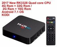 2017 Nueva RK3328 MXR PRO Android 7.1 Smart TV BOX Quad Core 4G Ram 32G Rom 4 K H265 KODI 17.3 Media Player Set-top Box TV Cajas