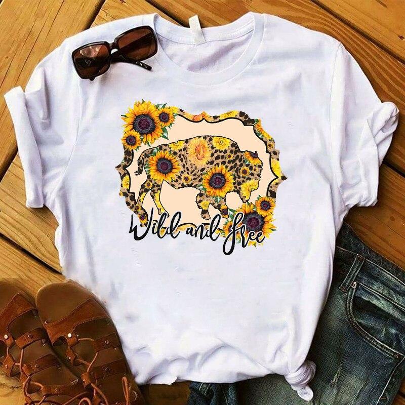 Mulheres do sexo feminino t womens touro gado novilha girassol selvagem verão gráfico camiseta femme impresso topo camiseta roupas