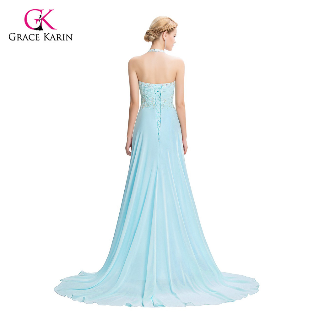 Grace Karin Chiffon Blue long elegant Prom Dresses 2018 Beaded ...