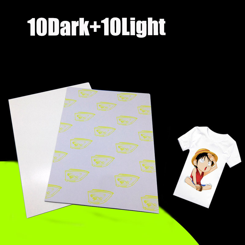 Laser Transfer Paper A4 Paper Heat Thermal Hot Transfer Printing Paper Stickers With Heat Press For t-shirt 10 Light+10 Dark недорго, оригинальная цена