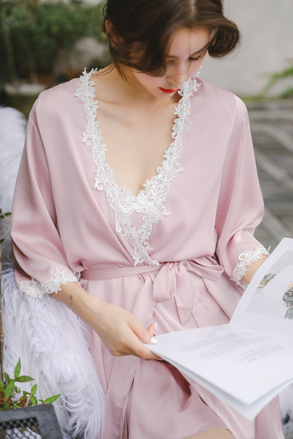 542db442b67 Autumn sexy pajamas 2 piece Robe beautiful lace gown sling stamp long white  nightdress Gown Sets women sleeping dress night wear-in Robe   Gown Sets  from ...