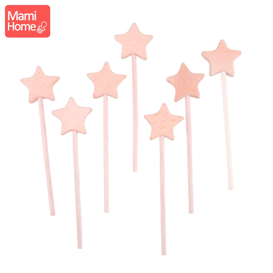 Mamihome 1Pc Wooden Teething Toys Beech Wooden Star Eco-friendly Montessori Toys Baby Wooden Teething Play Gym Baby Teether