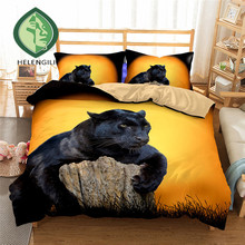 3D Bedding Set black Leopard tree Print Duvet cover set Twin queen king bedclothes with pillowcases bed home Textiles #2