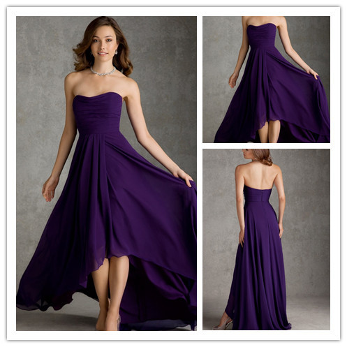 Elegant purple short front long back sweetheart chiffon for Purple plus size dresses for weddings