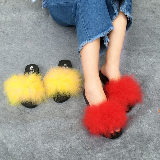 57af37572886 Fur Slides Women Ostrich Home Slippers Feathers Fluffy 44 Sweet Sandals  Beach Shoes Summer Pantufa Fashion Sliders Flip Flops