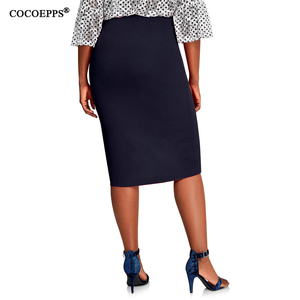 Image 4 - COCOEPPS 2019 Fashion New Brief High Waist Skirt Plus Size bodycon Pencil Skirt Women blue Sexy Slim Elegant Work OL Skirts 6XL