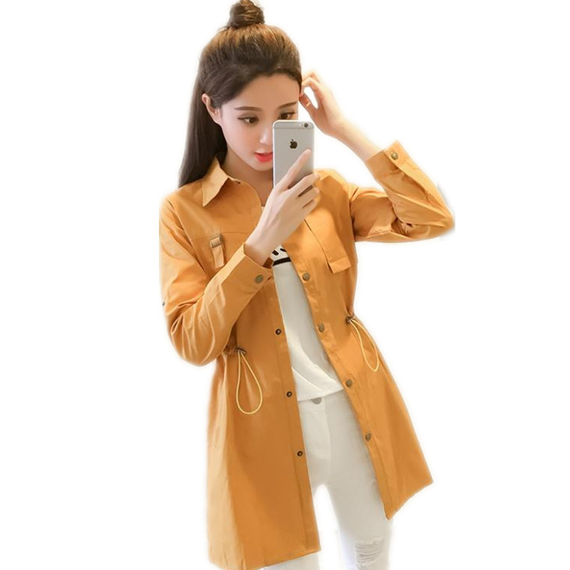 New Arrival 2019Fashion Spring Women   Trench   Coat Medium-Long Button Female For Autumn Coat With Sashes Thin WindbreakerCQ2825