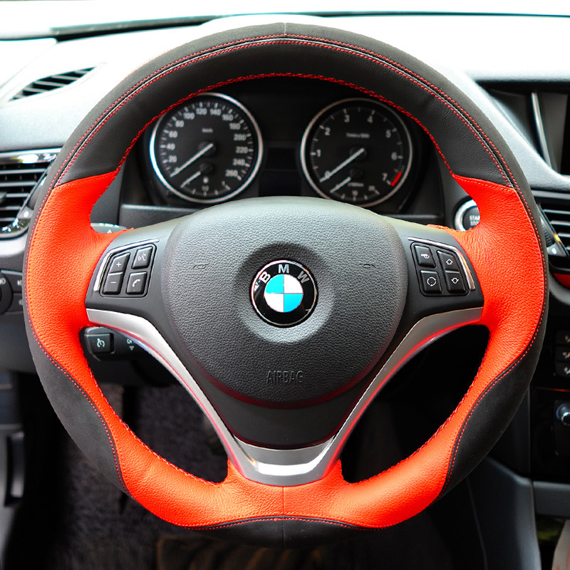 Genuine Leather Car Steering Wheel Cover For BMW x1 x3 x4 x5 x6 320li 525li 320 325 520 accessories car styling microfiber leather steering wheel cover car styling for renault scenic fluence koleos talisman captur kadjar