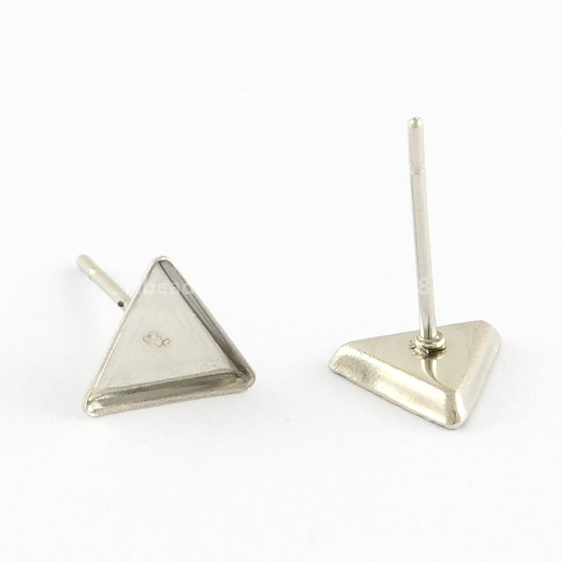 Jewelry Findings Earring Cabochon Settings 304 Stainless Steel Ear Studs Blank Components, Triangle, 8x7x2mm