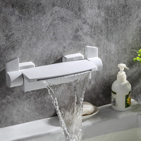 Bathroom Bathtub Faucets Waterfall Tub Faucet New Style White/Black/Gold Brass Dual Handles Dual Control Wall Mounted Mixer Tap