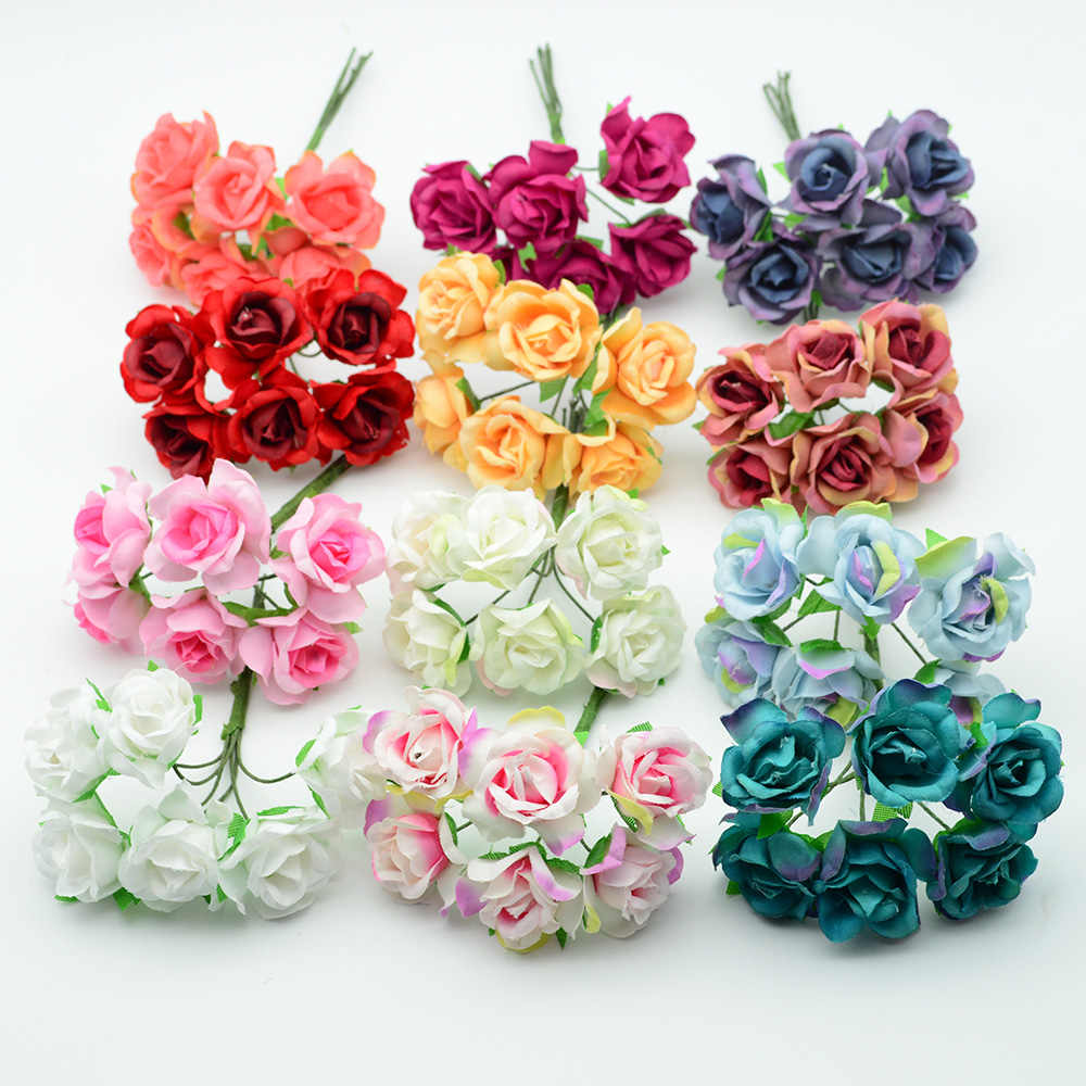 6pcs Silk roses Artificial flowers cheap christmas wreath decor for home wedding diy Garlands new Year gifts box fake floristics