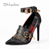 Pink Palms Mary Jane Shoes in Women's Pumps High Tartan Heels Plaid Dress Shoes with Rivets Ankle Strap Buckle Women Shoes
