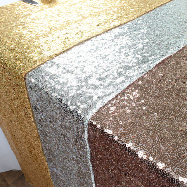 Gold Silver Champagne Glitz Sequin Table Runner For Wedding Party Christmas Decoration
