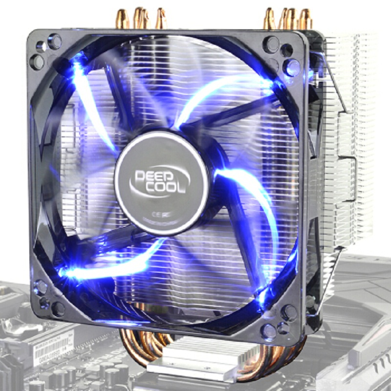 Deepcool 4 Copper Heatpipes CPU cooler for Intel 775 115X AMD AM3 AM4 CPU radiator 12cm LED Blu-ray cooling CPU fan PC quiet original soplay for amd all series intel lga 115x cpu cooler 4 heatpipes 4pin 9 2cm pwm fan pc computer cpu cooling radiator fan