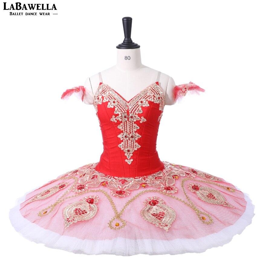 Adult Nutcracker Professional Ballet Tutu Red Gold White Pancake Peformance Tutus Ballet Dress Ballet Stage Costumes
