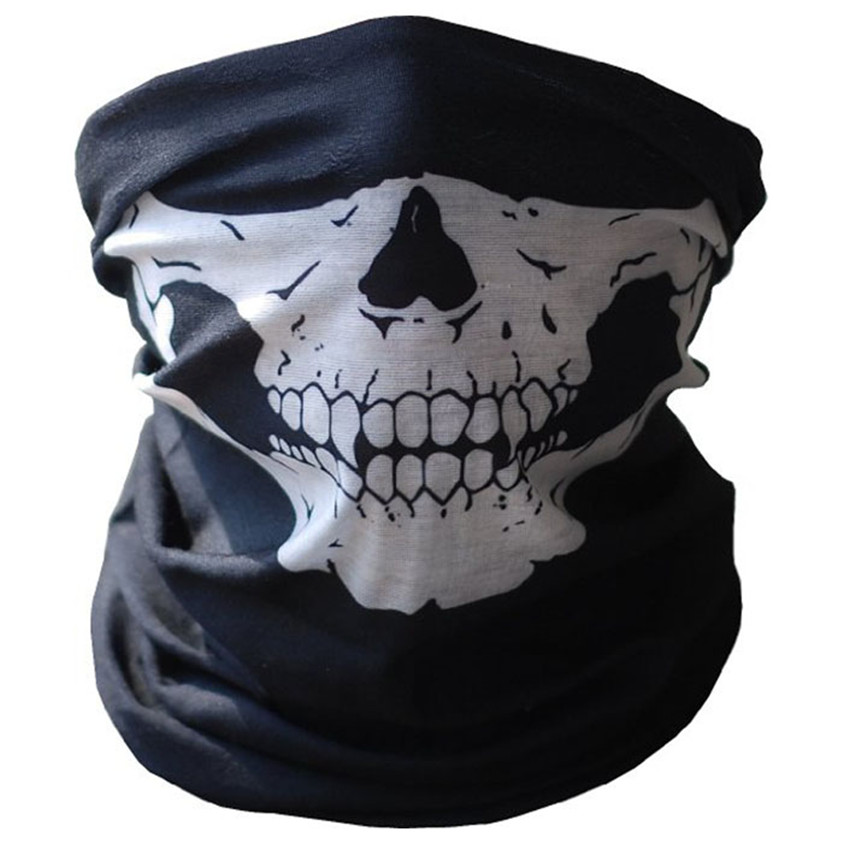 New Qualified Halloween Skull Masks Black Motorcycle Multi Function Headwear Neck Scary Sport Face Make Up Tool Kits U0312