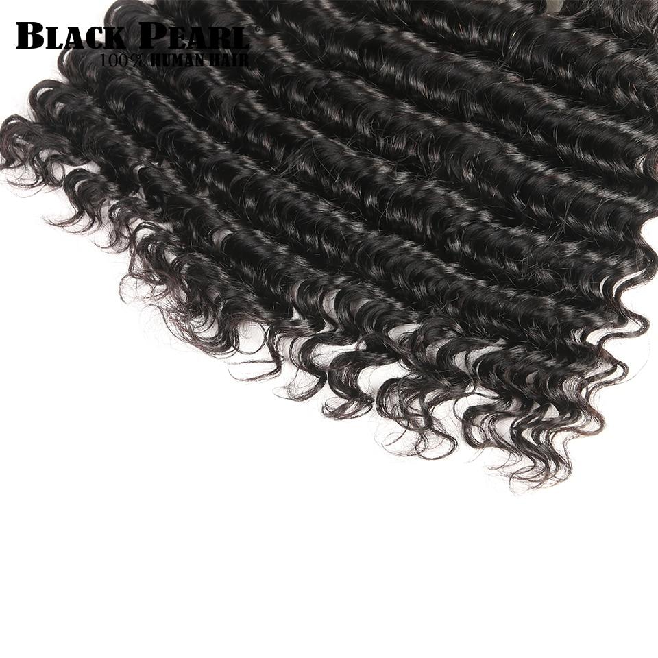 Black Pearl Human Hair Deep Wave Bundler Med Lukning Non-Remy - Skønhed forsyning - Foto 5