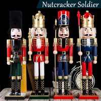4pcs Wooden Nutcracker Soldier Doll Toy Vintage Handcraft Puppet Home Christmas Decoration Ornaments Children Kids Gifts