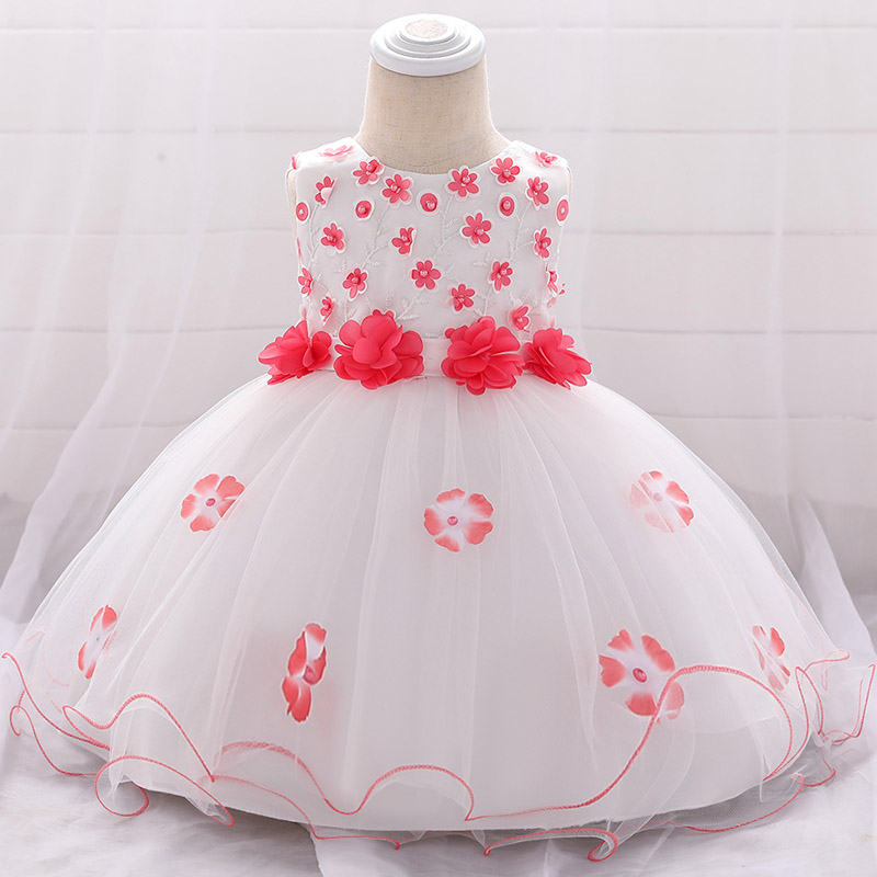 Beaded Applique Baby Girl Dress Suitable for Infants 3M-24M 1 Year Baby Girl Birthday Dress Vestido Sleeveless Princess Costume