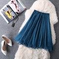 De alta calidad de las mujeres falda de verano de gasa plisada falda de tul mujeres midi falda elástico de cintura alta