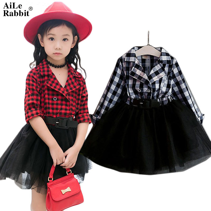 AiLe Rabbit Girls Tutu Dresses Spring Autumn Full Sleeve Children's Clothing Plaid Lace Dress Outfits Kids Clothes k1