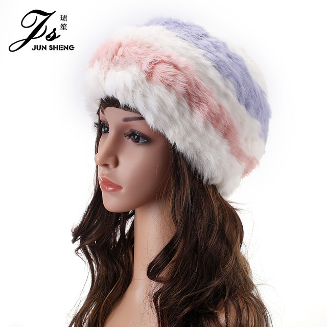 Gradient Hit Color Rabbit Hair Painter Hat Beilei Hat Winter Hat Warm Winter Outdoor Cap