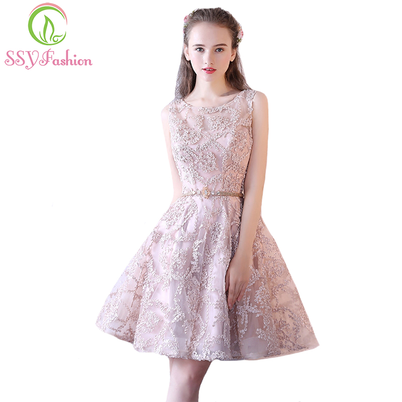 SSYFashion New Sweet Nude Color Lace Sleeveless   Cocktail     Dress   The Bride Banquet Elegant Short Party Gown Robe De Soiree