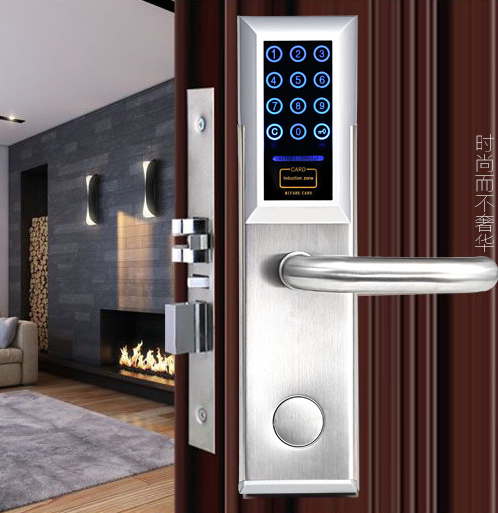 Electronic Smart Home Digital LED Touch Screen Password Keypad Door Lock with Key and Card     ET958pw touch numeric keypad password rfid card key digital electronic cabinet locker lock wholesale