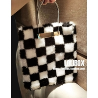 LOLIBOX Women Bags Imitation Rabbit Fur With Metal Handle Bolsa Feminina Large Capacity Women Evening Bags