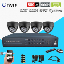 TEATE 8ch CCTV video System 4pcs 600tvl indoor IR camera Video Surveillance System DVR video recorder kit CK-247