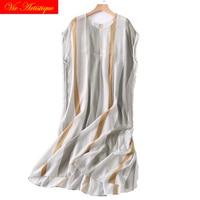 silk dress summer maxi women beach 2018 shirt dresses long plus size boho sexy party casual elegant loose elastic grey striped