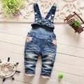 Roupas de bebe Otoño Del Resorte de los Bebés Denim Jeans Overol Estampado floral Pant Niños Ocasional Pantalones Largos