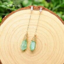 GLSEEVO Original Design Irregular Water Drop Green Crystal Rough Long Drop Earrings For Women Weddin