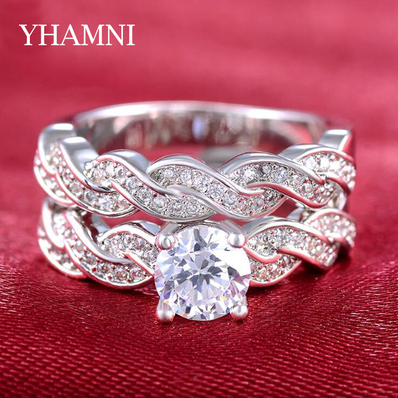 YHAMNI Infinity Love Forver Wedding Engagement Ring Set Diamant Cubic Zirconia Pure 925 Sterling Silver Ring Fine Jewelry GR127