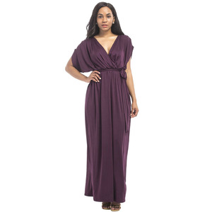 Image 1 - Maternity Evening Dress For Pregnant Women Clothes Long Loose Deep V neck Lady Pregnancy Dress Vestidos Gravidas Clothing Summer