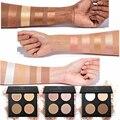 Marca 4 cores de maquiagem fundação pó brilho kit make up sombra naked paleta bronzer highlighter