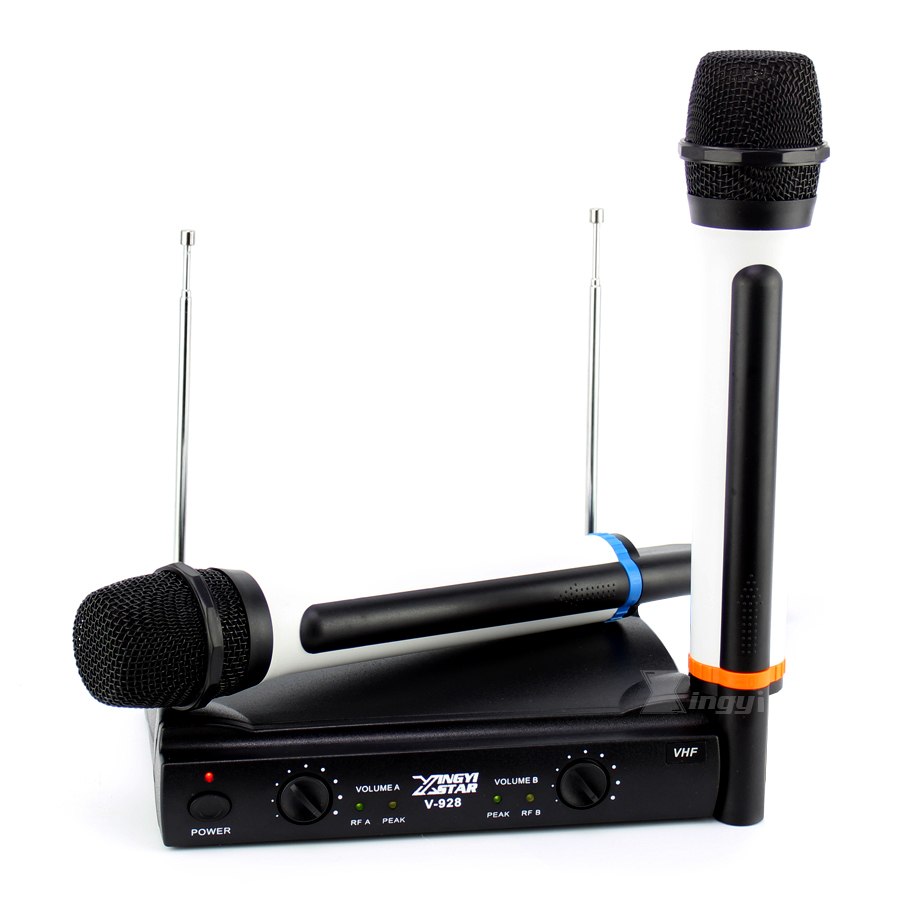 Professional 2 Handheld Dynamic Mic VHF Wireless Microphone System For Computer Sing Karaoke Party Sing Lectures Speech Speaker