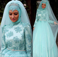 2017 New Style Muslim Arabic Long Sleeve Wedding Dress with Veils Lace Appliques High Neck Tulle Bridal Wedding Gown Beaded Sash