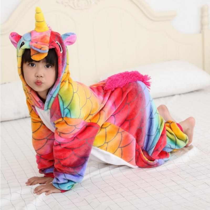... Дети комбинезон единорог пижамы обувь для девочек мальчиков Радуга  Единорог комбинезон с капюшоном пижамы Аниме мультфильм ... 6aa70987f06c6