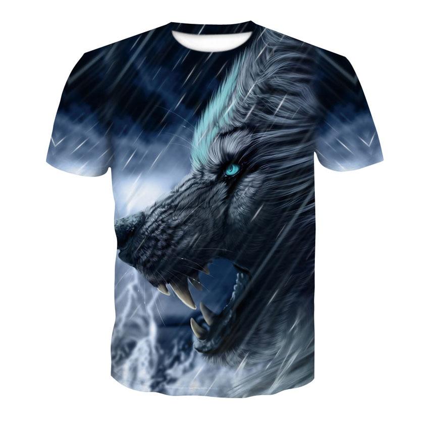 2020 fashion animal Wolf man trend printed T-shirt summer new rain Wolf round collar street wear short-sleeved T-shirt