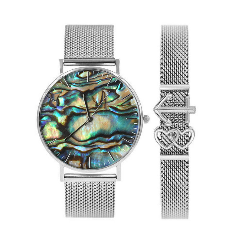 Mavis Hare Ocean Series Real Abalone Shell Silver Color Watches Women Wristwatches With Slide Charm Mesh Bracelet Set For Gift