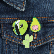 Animal fruit lazy coffee cat brooch collar  avocado badge hard enamel pin needle cute gift denim clothing Jewelry