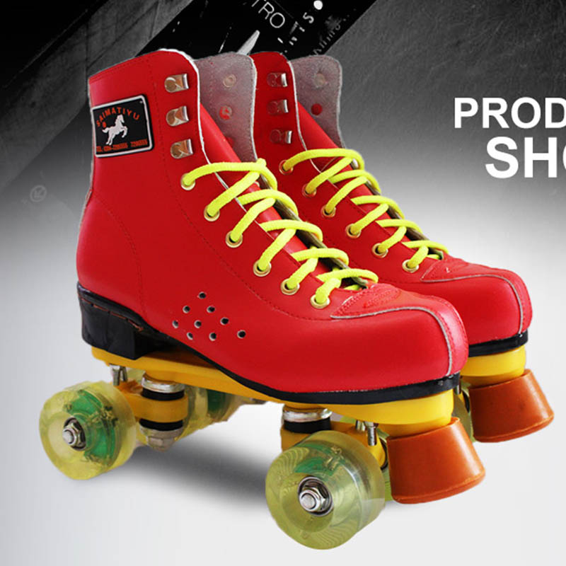 Roller Skates Red Genuine Leather With Led Lighting Wheel Double Line Skates Adult 4 Wheels Two line Roller Skating Shoes children roller sneaker with one wheel led lighted flashing roller skates kids boy girl shoes zapatillas con ruedas