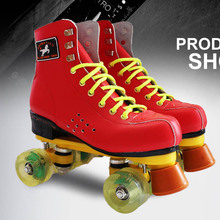 Roller Skates Red Genuine Leather With Led Lighting Wheel Double Line Skates Adult 4 Wheels Two line Roller Skating Shoes