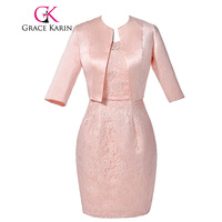 Elegant Mother Of The Bride Dresses With Jacket Grace Karin Pink Half Sleeve Lace Evening Dress
