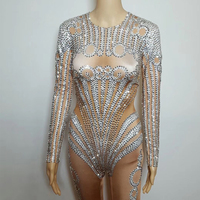 Sparking Crystals Jumpsuit Stage Wear Costume Bling Rompers Women's Outfit Silver Bodysuit Celebrate Clothing Bosdysuit DJ388